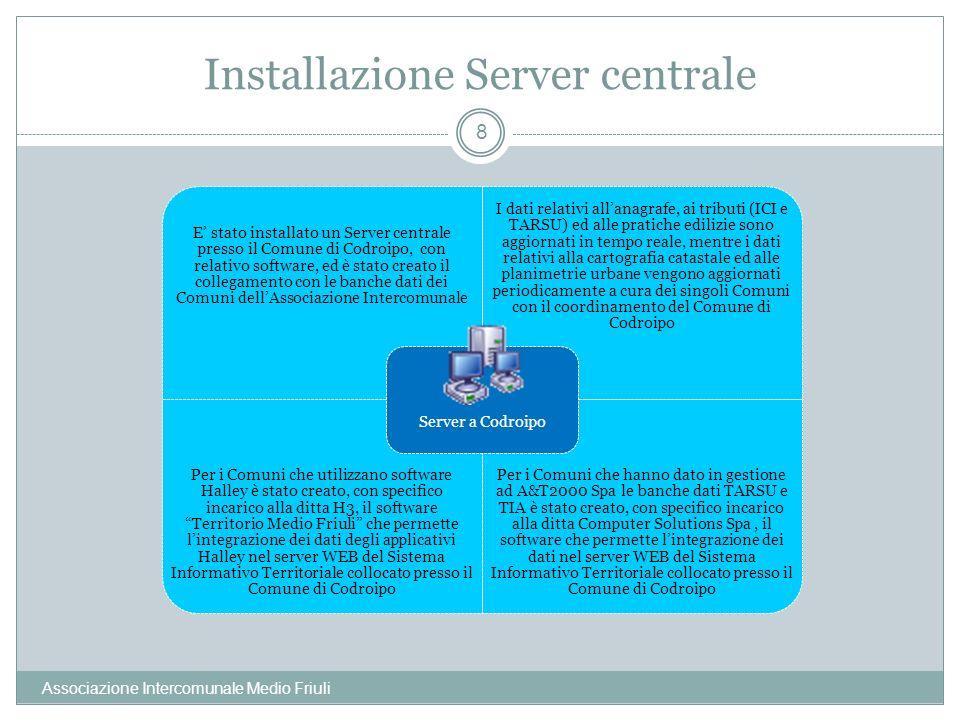 Installazione Server centrale Associazione Intercomunale Medio Friuli 8 E stato installato un Server centrale presso il Comune di Codroipo, con relati