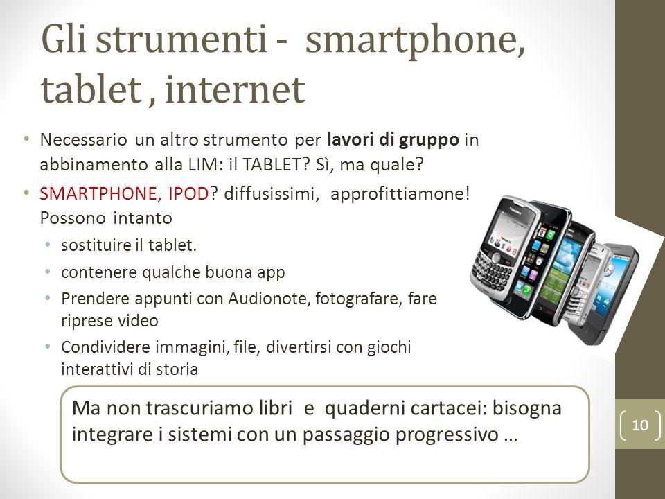 Gli strumenti - smartphone, tablet, internet Necessario un altro strumento per lavori di gruppo in abbinamento alla LIM: il TABLET.