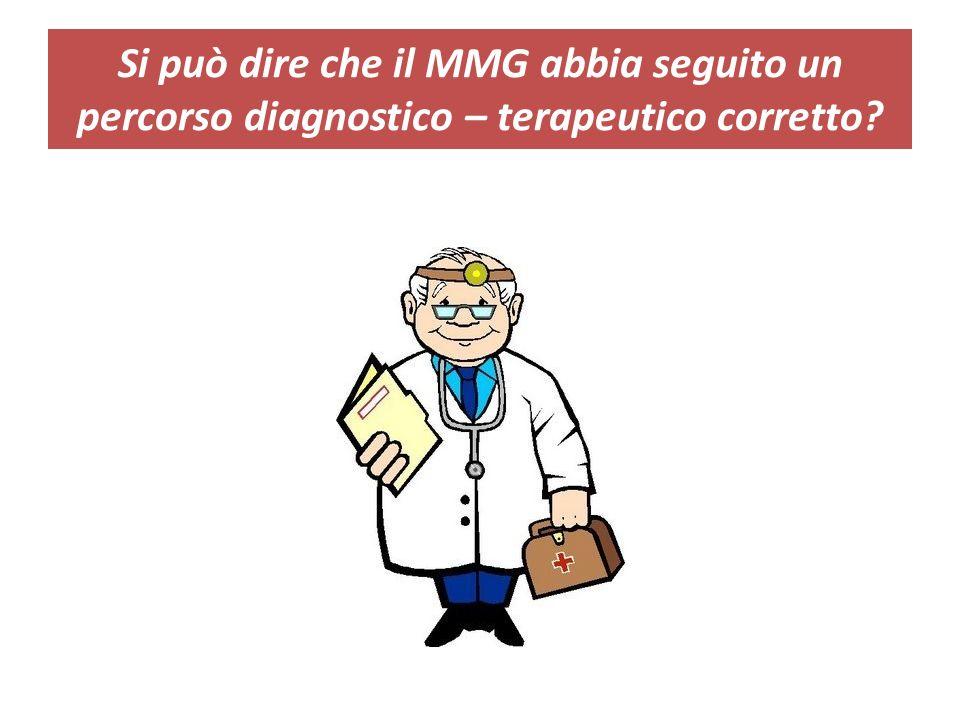 Si può dire che il MMG abbia seguito un percorso diagnostico – terapeutico corretto?