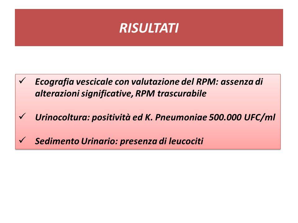 RISULTATI Ecografia vescicale con valutazione del RPM: assenza di alterazioni significative, RPM trascurabile Urinocoltura: positività ed K. Pneumonia