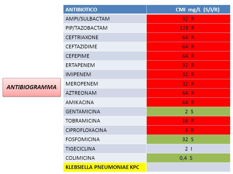 ANTIBIOGRAMMA ANTIBIOTICO CMI mg/L (S/I/R) AMPI/SULBACTAM 32 R PIP/TAZOBACTAM 128 R CEFTRIAXONE 64 R CEFTAZIDIME 64 R CEFEPIME 64 R ERTAPENEM 32 R IMIPENEM 32 R MEROPENEM 32 R AZTREONAM 64 R AMIKACINA 64 R GENTAMICINA 2 S TOBRAMICINA 16 R CIPROFLOXACINA 4 R FOSFOMICINA 32 S TIGECICLINA 2 I COLIMICINA 0,4 S KLEBSIELLA PNEUMONIAE KPC