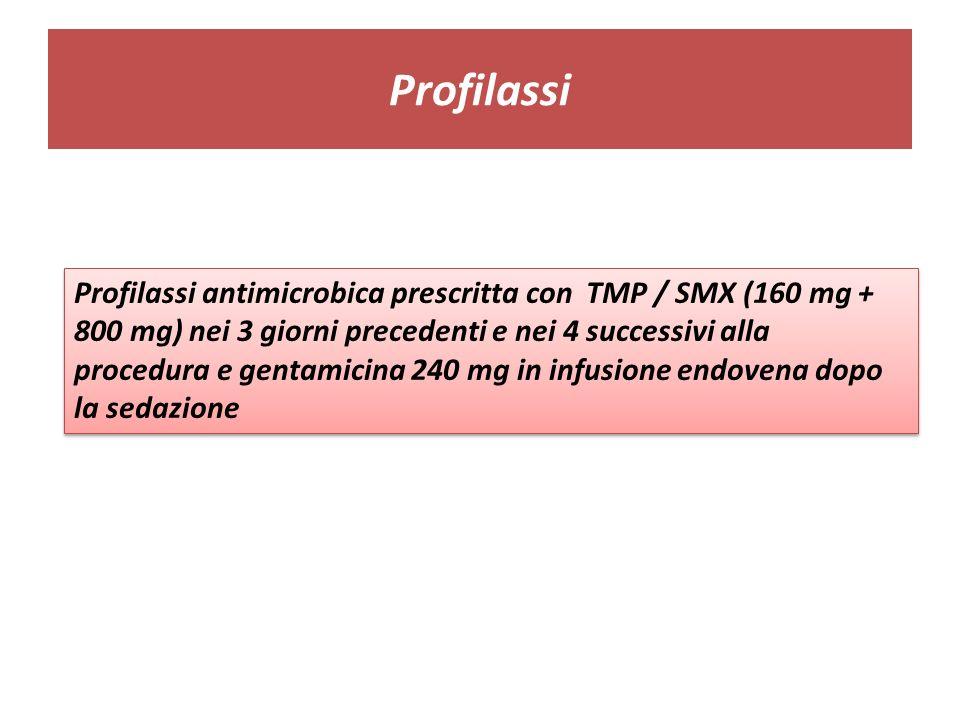 Profilassi Profilassi antimicrobica prescritta con TMP / SMX (160 mg + 800 mg) nei 3 giorni precedenti e nei 4 successivi alla procedura e gentamicina 240 mg in infusione endovena dopo la sedazione