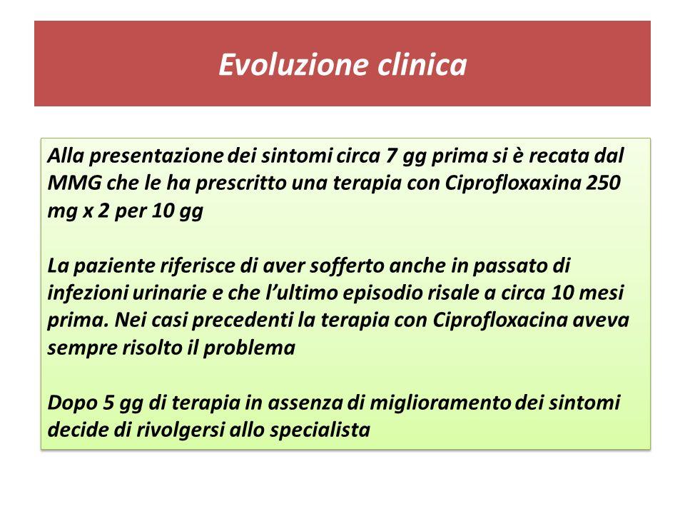 Evoluzione clinica Alla presentazione dei sintomi circa 7 gg prima si è recata dal MMG che le ha prescritto una terapia con Ciprofloxaxina 250 mg x 2 per 10 gg La paziente riferisce di aver sofferto anche in passato di infezioni urinarie e che lultimo episodio risale a circa 10 mesi prima.