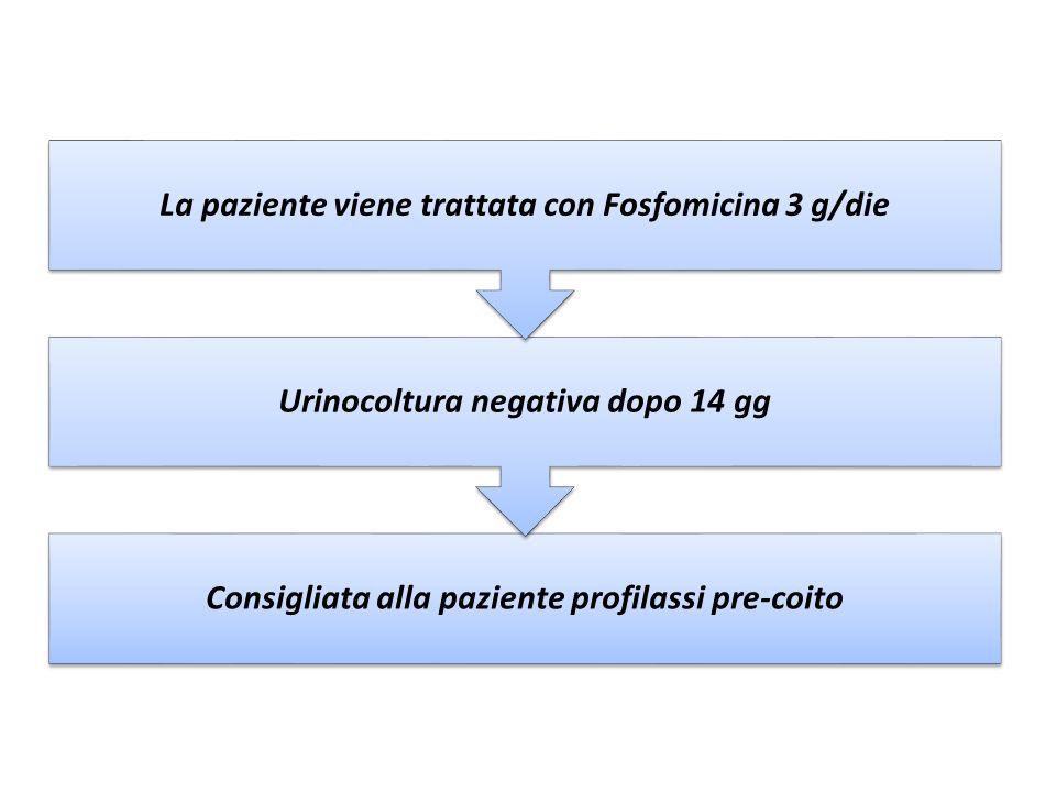 Consigliata alla paziente profilassi pre-coito Urinocoltura negativa dopo 14 gg La paziente viene trattata con Fosfomicina 3 g/die