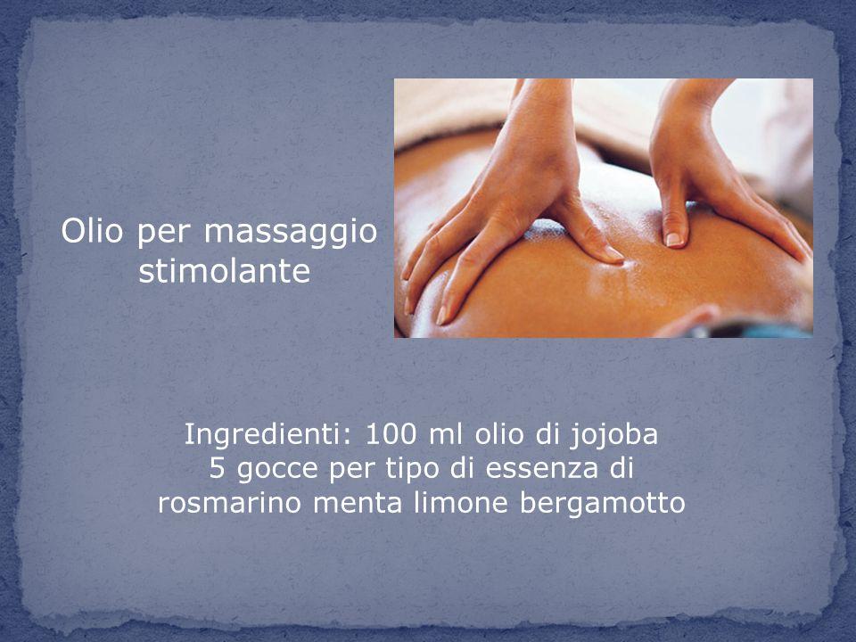 Olio per massaggio stimolante Ingredienti: 100 ml olio di jojoba 5 gocce per tipo di essenza di rosmarino menta limone bergamotto