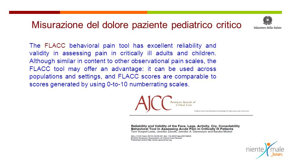 The FLACC behavioral pain tool has excellent reliability and validity in assessing pain in critically ill adults and children.