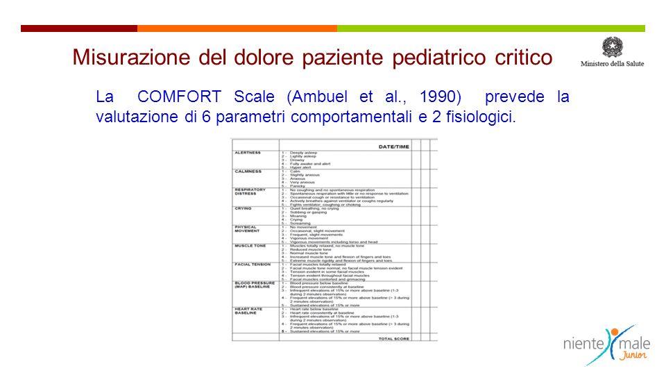 La COMFORT Scale (Ambuel et al., 1990) prevede la valutazione di 6 parametri comportamentali e 2 fisiologici. Misurazione del dolore paziente pediatri