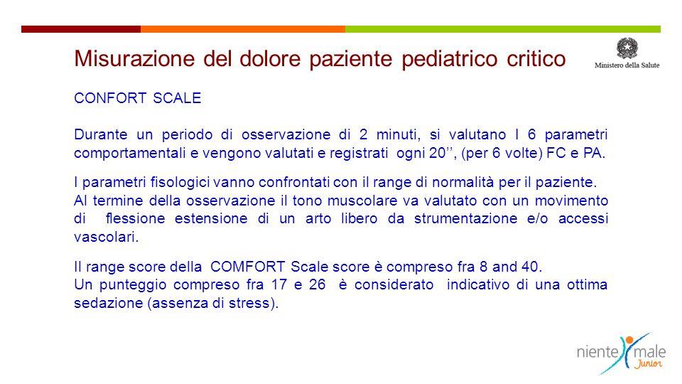 CONFORT SCALE Durante un periodo di osservazione di 2 minuti, si valutano I 6 parametri comportamentali e vengono valutati e registrati ogni 20, (per