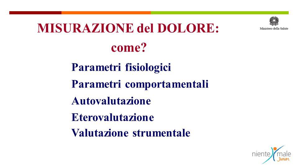 Parametri fisiologici Parametri comportamentali Autovalutazione Eterovalutazione Valutazione strumentale MISURAZIONE del DOLORE: come?