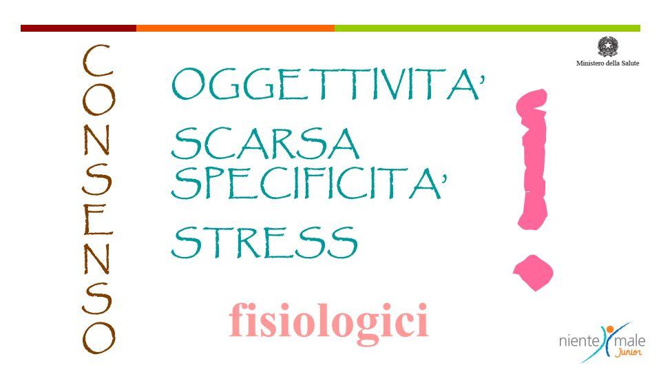 ! CONSENSOCONSENSO OGGETTIVITA SCARSA SPECIFICITA STRESS fisiologici
