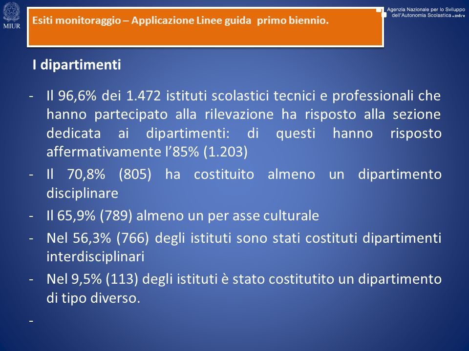 -Il 96,6% dei 1.472 istituti scolastici tecnici e professionali che hanno partecipato alla rilevazione ha risposto alla sezione dedicata ai dipartimenti: di questi hanno risposto affermativamente l85% (1.203) -Il 70,8% (805) ha costituito almeno un dipartimento disciplinare -Il 65,9% (789) almeno un per asse culturale -Nel 56,3% (766) degli istituti sono stati costituti dipartimenti interdisciplinari -Nel 9,5% (113) degli istituti è stato costitutito un dipartimento di tipo diverso.