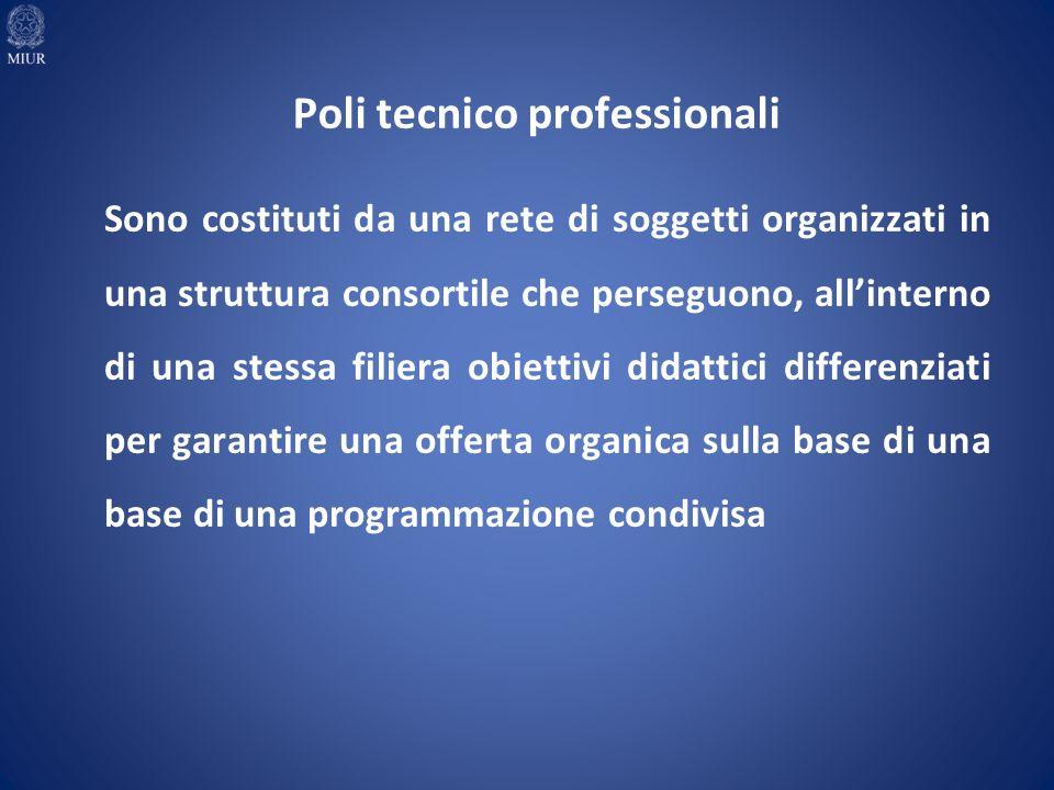 Sono costituti da una rete di soggetti organizzati in una struttura consortile che perseguono, allinterno di una stessa filiera obiettivi didattici differenziati per garantire una offerta organica sulla base di una base di una programmazione condivisa Poli tecnico professionali