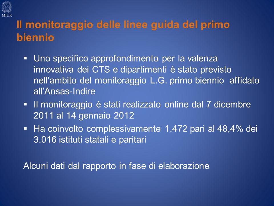 Uno specifico approfondimento per la valenza innovativa dei CTS e dipartimenti è stato previsto nellambito del monitoraggio L.G.