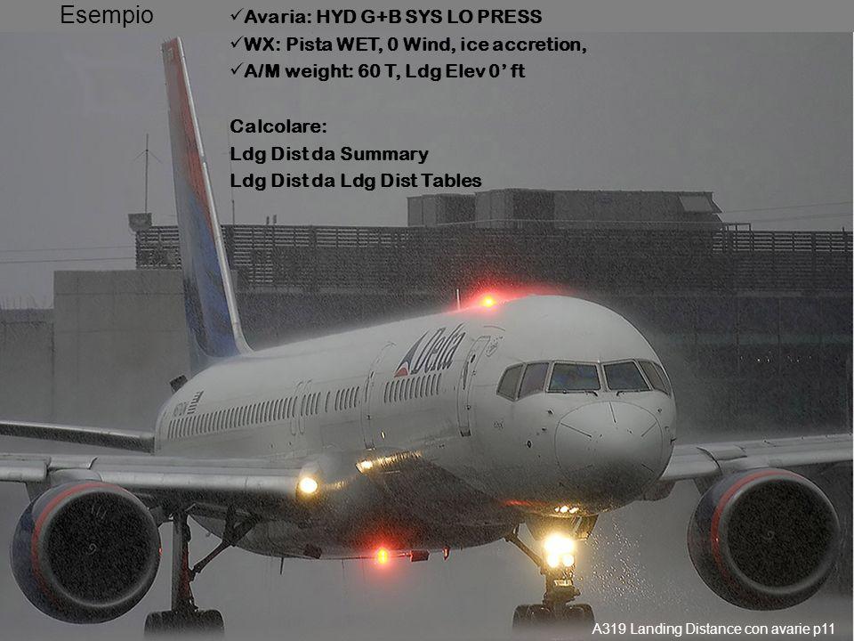 Utilizzo dei Summaries 2 Particolarità: Calcolo SEMPRE WITHOUT REVERSE Su Dry Runway -> distanza, Se Contaminated -> rif. 4.03 (Ldg Dist) A319 Landing