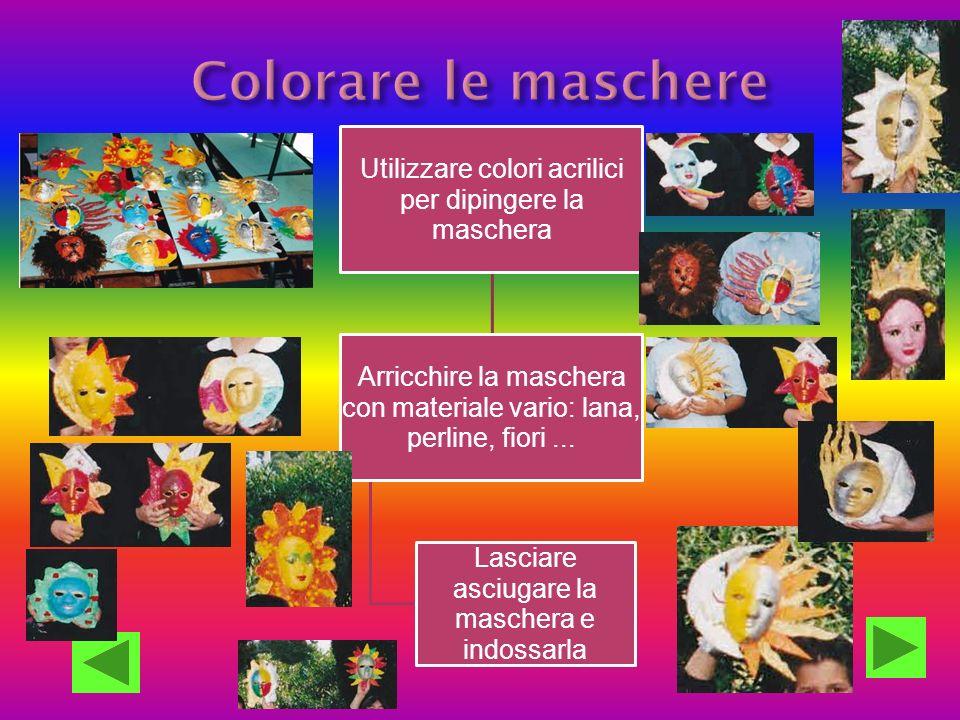 Utilizzare colori acrilici per dipingere la maschera Arricchire la maschera con materiale vario: lana, perline, fiori... Lasciare asciugare la mascher