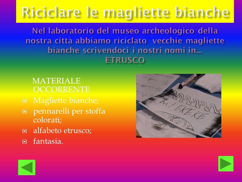 MATERIALE OCCORRENTE Magliette bianche; pennarelli per stoffa colorati; alfabeto etrusco; fantasia.