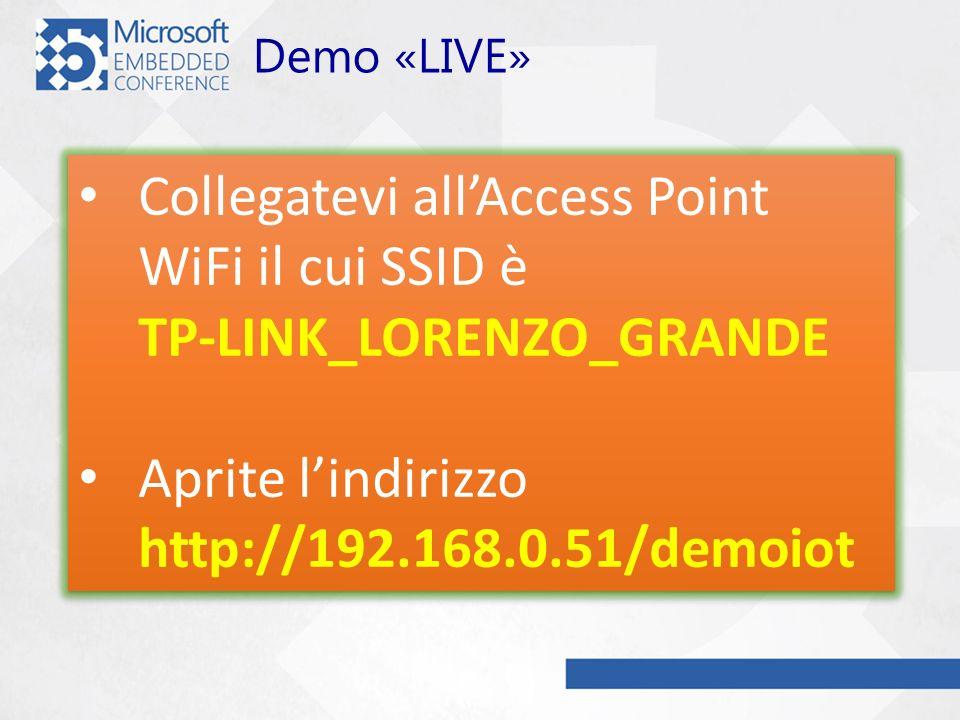 Demo «LIVE» Collegatevi allAccess Point WiFi il cui SSID è TP-LINK_LORENZO_GRANDE Aprite lindirizzo http://192.168.0.51/demoiot Collegatevi allAccess Point WiFi il cui SSID è TP-LINK_LORENZO_GRANDE Aprite lindirizzo http://192.168.0.51/demoiot