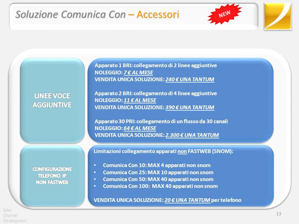 Sales Channel Development 13 Soluzione Comunica Con – Accessori NEW Apparato 1 BRI: collegamento di 2 linee aggiuntive NOLEGGIO: 7 AL MESE VENDITA UNI