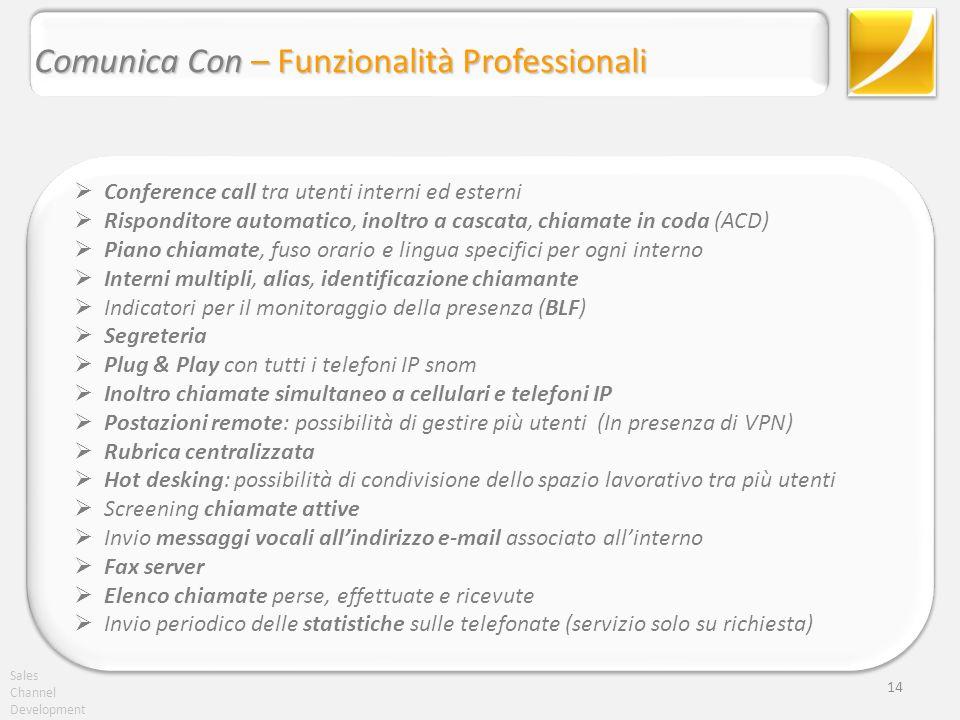 Sales Channel Development 14 Conference call tra utenti interni ed esterni Risponditore automatico, inoltro a cascata, chiamate in coda (ACD) Piano ch