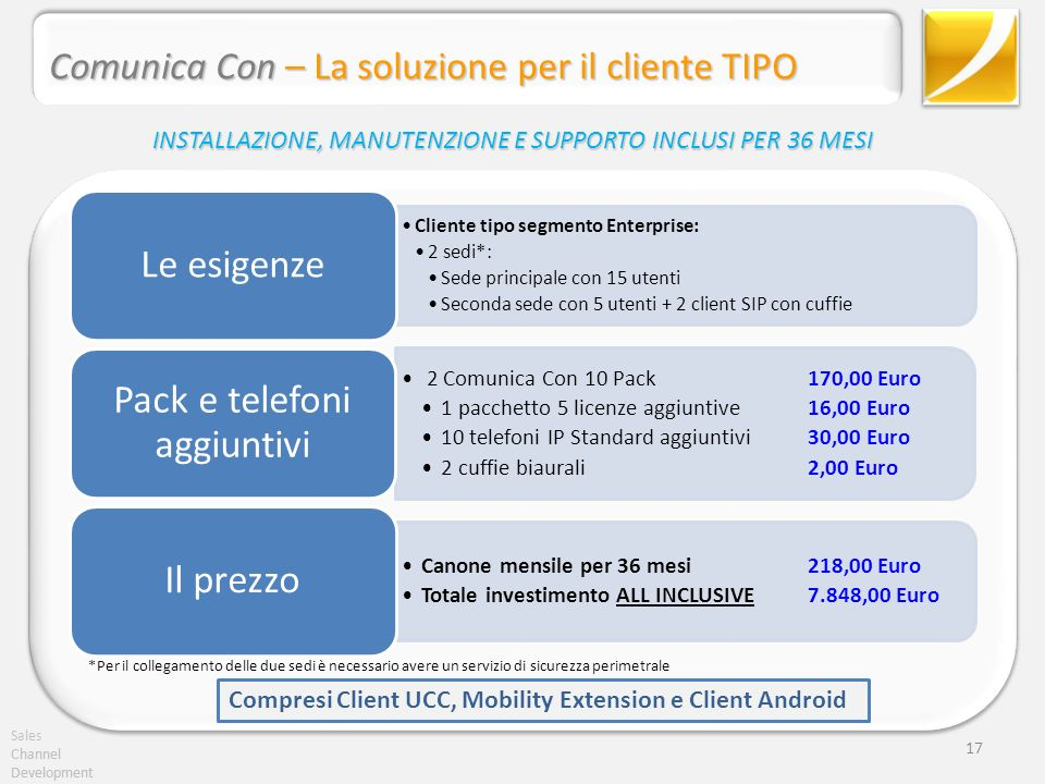 Sales Channel Development Comunica Con – La soluzione per il cliente TIPO Channel Development 17 Cliente tipo segmento Enterprise: 2 sedi*: Sede princ