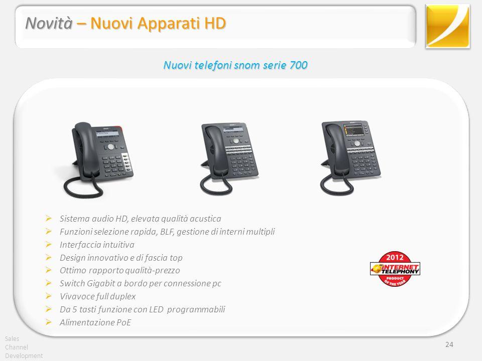 Sales Channel Development 24 Sistema audio HD, elevata qualità acustica Funzioni selezione rapida, BLF, gestione di interni multipli Interfaccia intui