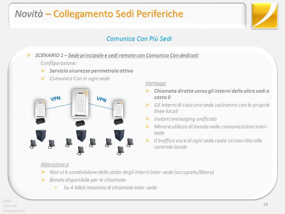 Sales Channel Development 26 SCENARIO 1 – Sede principale e sedi remote con Comunica Con dedicati Configurazione: Servizio sicurezza perimetrale attiv