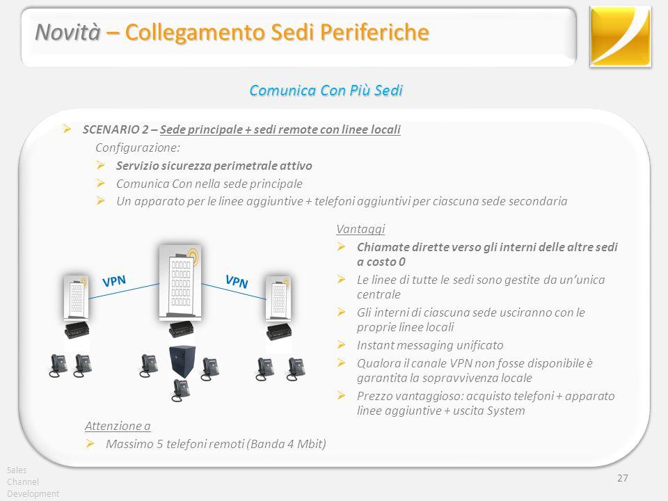 Sales Channel Development 27 SCENARIO 2 – Sede principale + sedi remote con linee locali Configurazione: Servizio sicurezza perimetrale attivo Comunic
