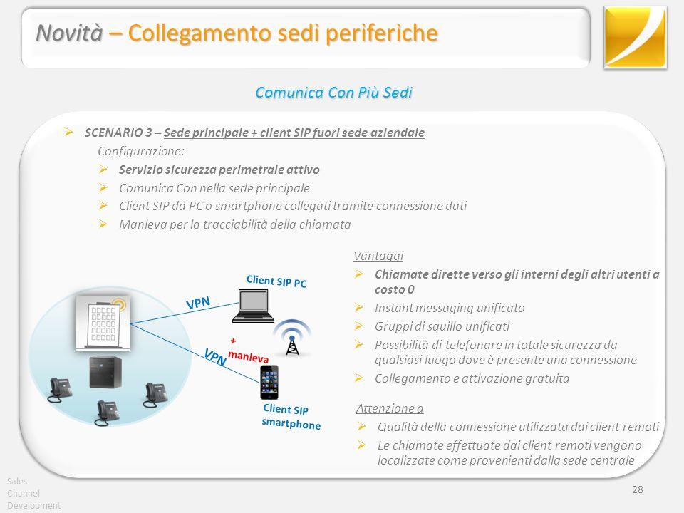 Sales Channel Development 28 SCENARIO 3 – Sede principale + client SIP fuori sede aziendale Configurazione: Servizio sicurezza perimetrale attivo Comu