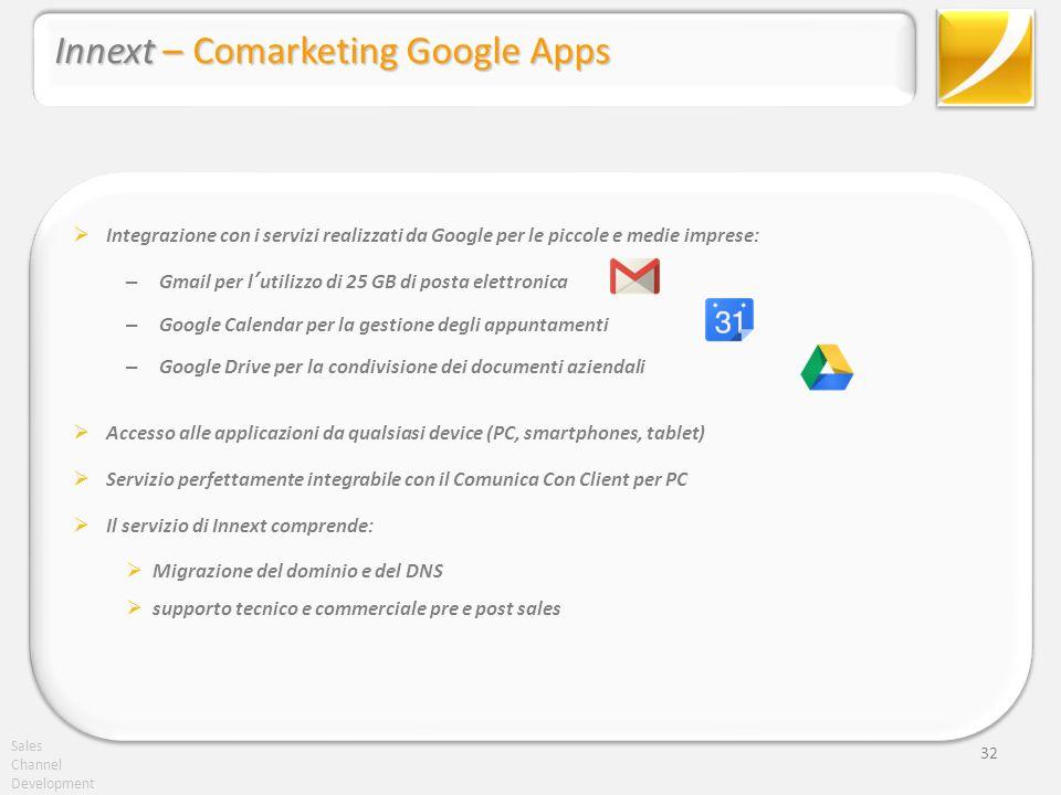 Sales Channel Development 32 Innext – Comarketing Google Apps Integrazione con i servizi realizzati da Google per le piccole e medie imprese: – Gmail