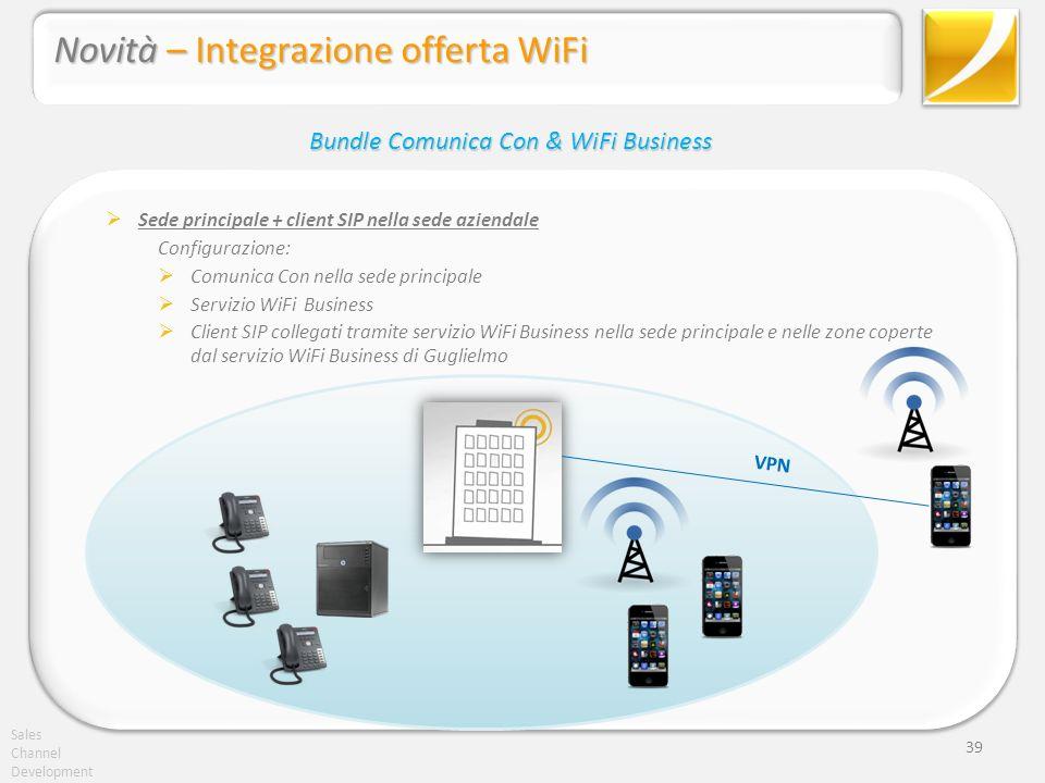 Sales Channel Development 39 Sede principale + client SIP nella sede aziendale Configurazione: Comunica Con nella sede principale Servizio WiFi Busine