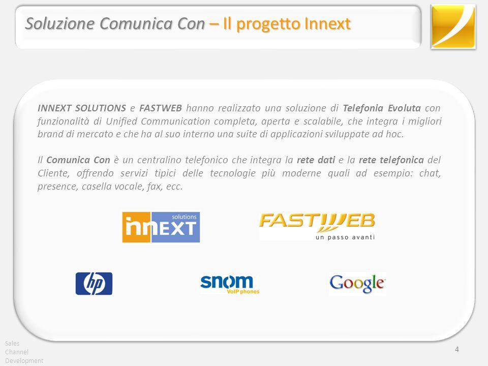 Sales Channel Development 4 Soluzione Comunica Con – Il progetto Innext INNEXT SOLUTIONS e FASTWEB hanno realizzato una soluzione di Telefonia Evoluta