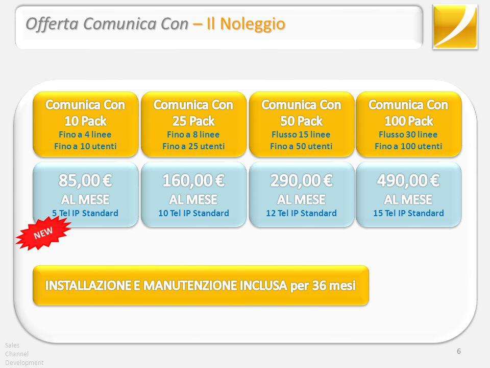 Sales Channel Development Comunica Con – La soluzione per il cliente TIPO Channel Development 17 Cliente tipo segmento Enterprise: 2 sedi*: Sede principale con 15 utenti Seconda sede con 5 utenti + 2 client SIP con cuffie Le esigenze 2 Comunica Con 10 Pack170,00 Euro 1 pacchetto 5 licenze aggiuntive16,00 Euro 10 telefoni IP Standard aggiuntivi30,00 Euro 2 cuffie biaurali2,00 Euro Pack e telefoni aggiuntivi Canone mensile per 36 mesi218,00 Euro Totale investimento ALL INCLUSIVE7.848,00 Euro Il prezzo INSTALLAZIONE, MANUTENZIONE E SUPPORTO INCLUSI PER 36 MESI Compresi Client UCC, Mobility Extension e Client Android *Per il collegamento delle due sedi è necessario avere un servizio di sicurezza perimetrale