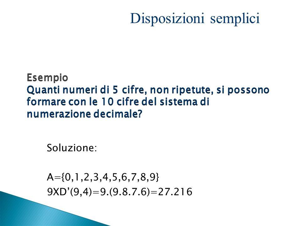 Soluzione: A={0,1,2,3,4,5,6,7,8,9} 9XD(9,4)=9.(9.8.7.6)=27.216 Esempio Quanti numeri di 5 cifre, non ripetute, si possono formare con le 10 cifre del