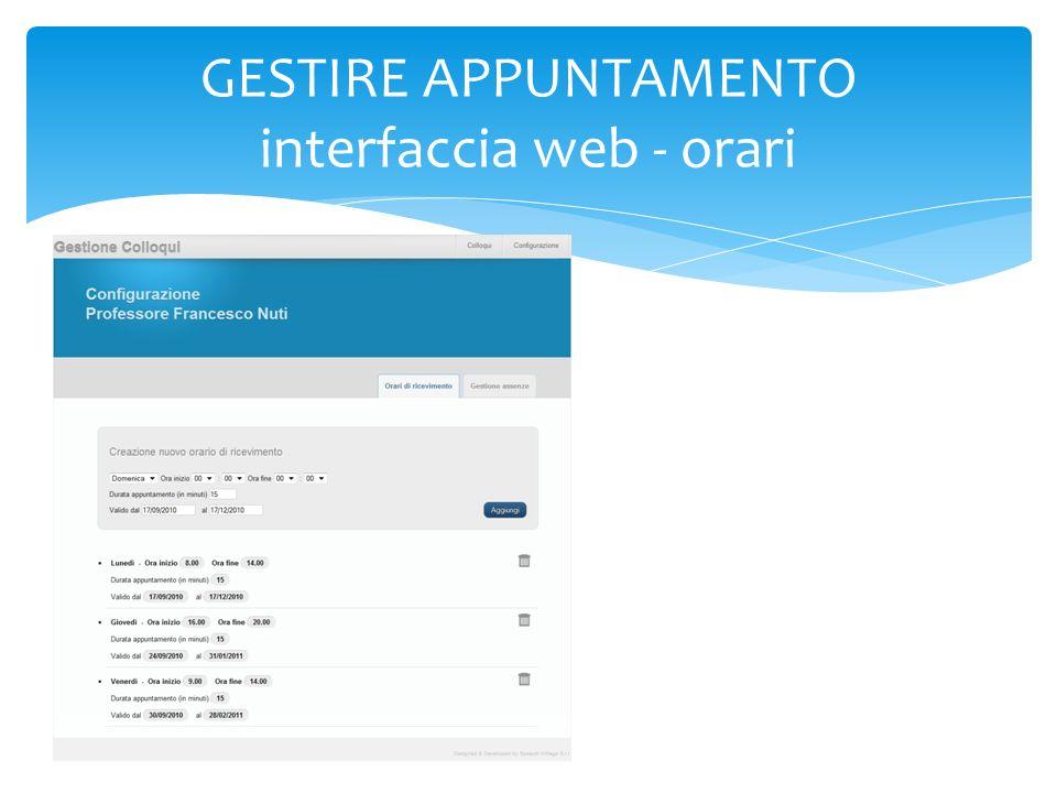 GESTIRE APPUNTAMENTO interfaccia web - orari