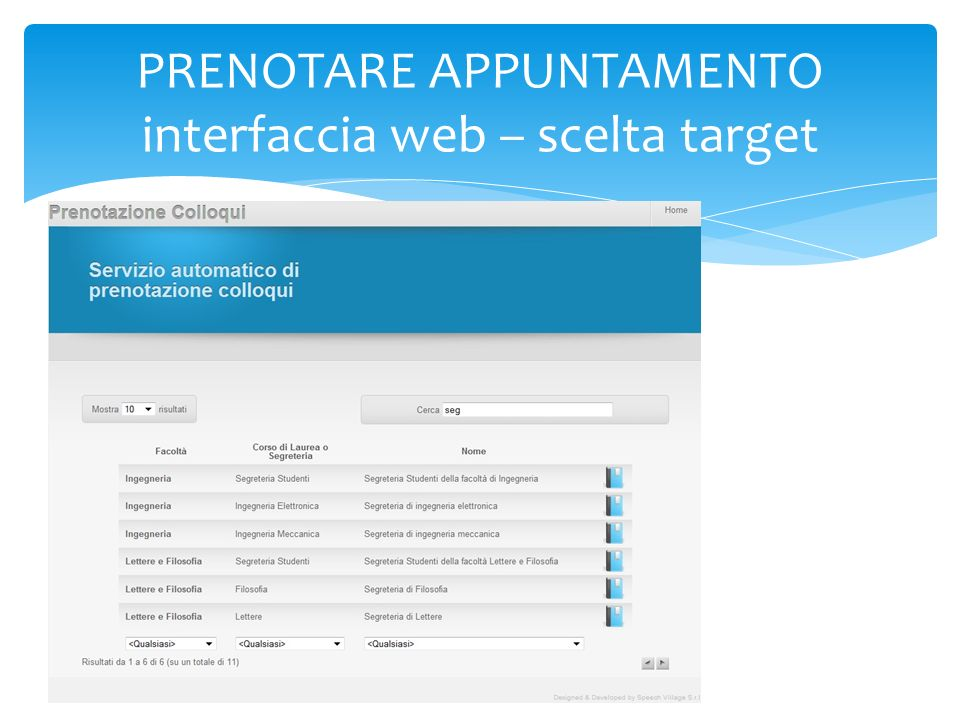 PRENOTARE APPUNTAMENTO interfaccia web – calendario target