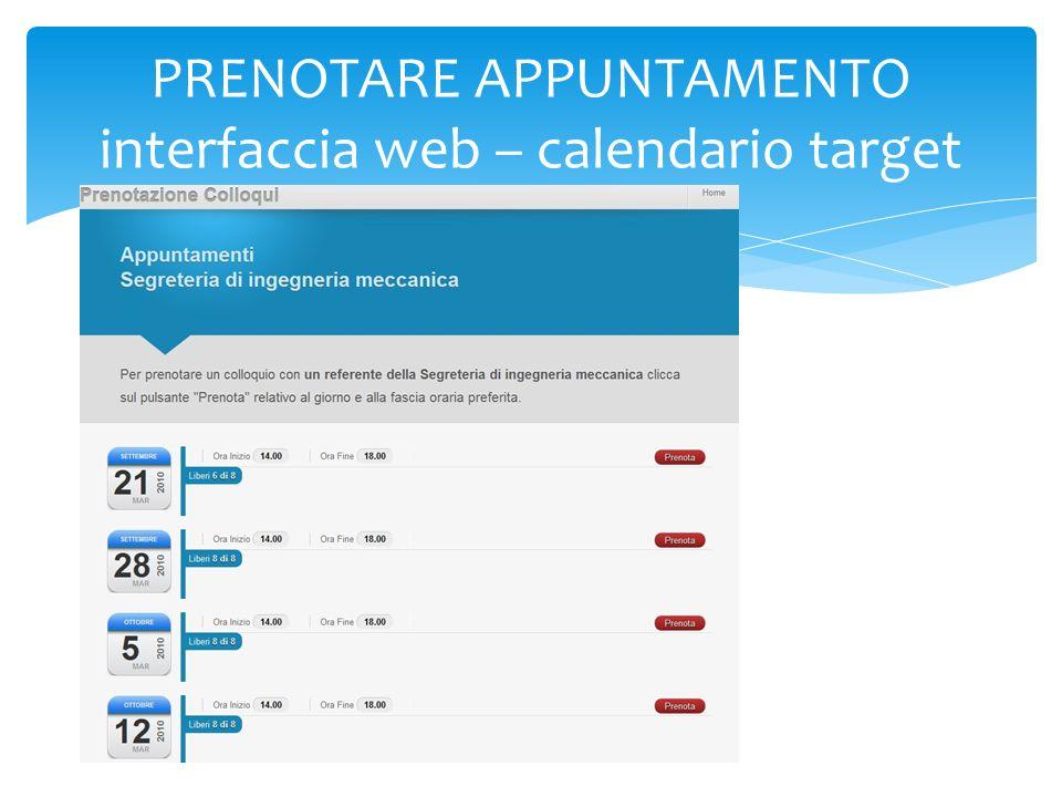 PRENOTARE APPUNTAMENTO interfaccia web – calendario target