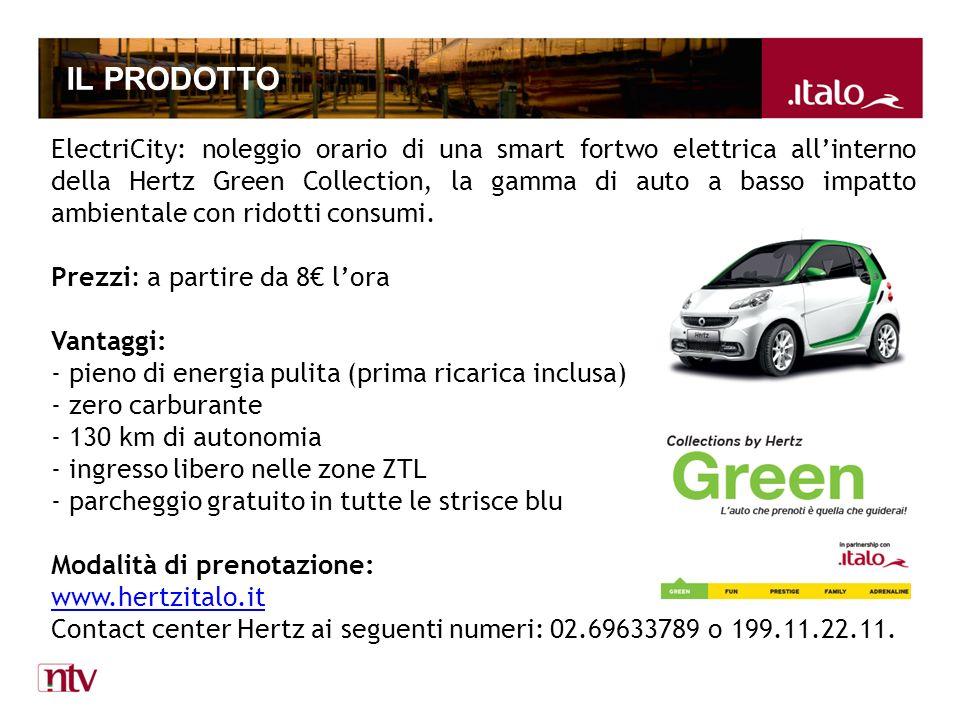 IL PRODOTTO ElectriCity: noleggio orario di una smart fortwo elettrica allinterno della Hertz Green Collection, la gamma di auto a basso impatto ambientale con ridotti consumi.