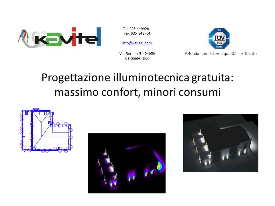 Tel 035 4499281 Fax 035 843704 info@kavitel.com Via Beretta 5 - 24050 Calcinate (BG) Azienda con sistema qualità certificato Progettazione illuminotecnica gratuita: massimo confort, minori consumi