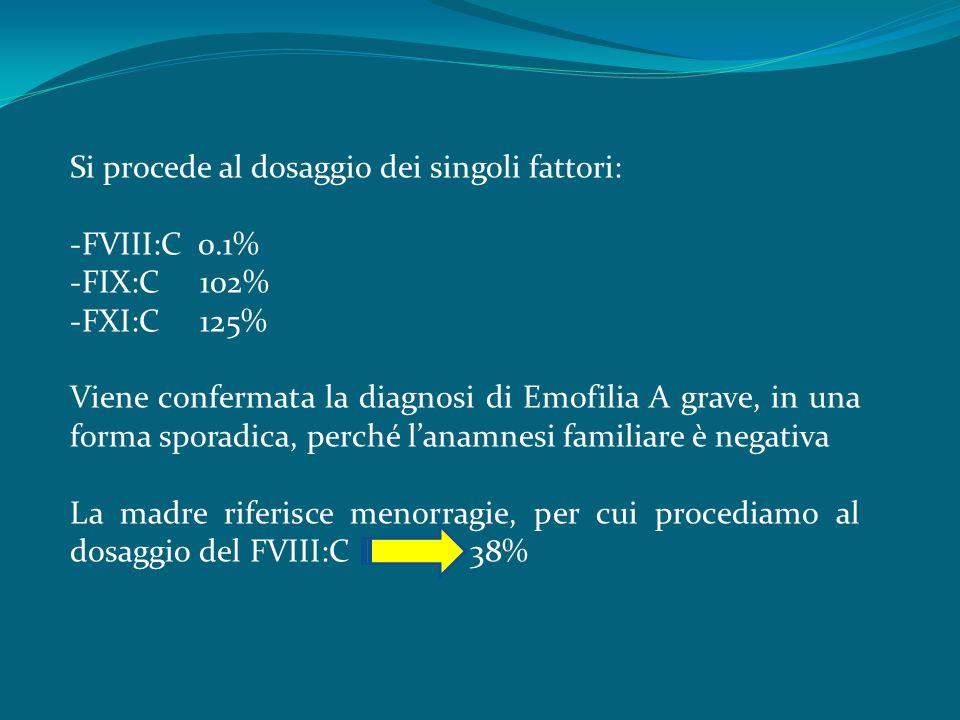 Si procede al dosaggio dei singoli fattori: -FVIII:C 0.1% -FIX:C 102% -FXI:C 125% Viene confermata la diagnosi di Emofilia A grave, in una forma sporadica, perché lanamnesi familiare è negativa La madre riferisce menorragie, per cui procediamo al dosaggio del FVIII:C 38%