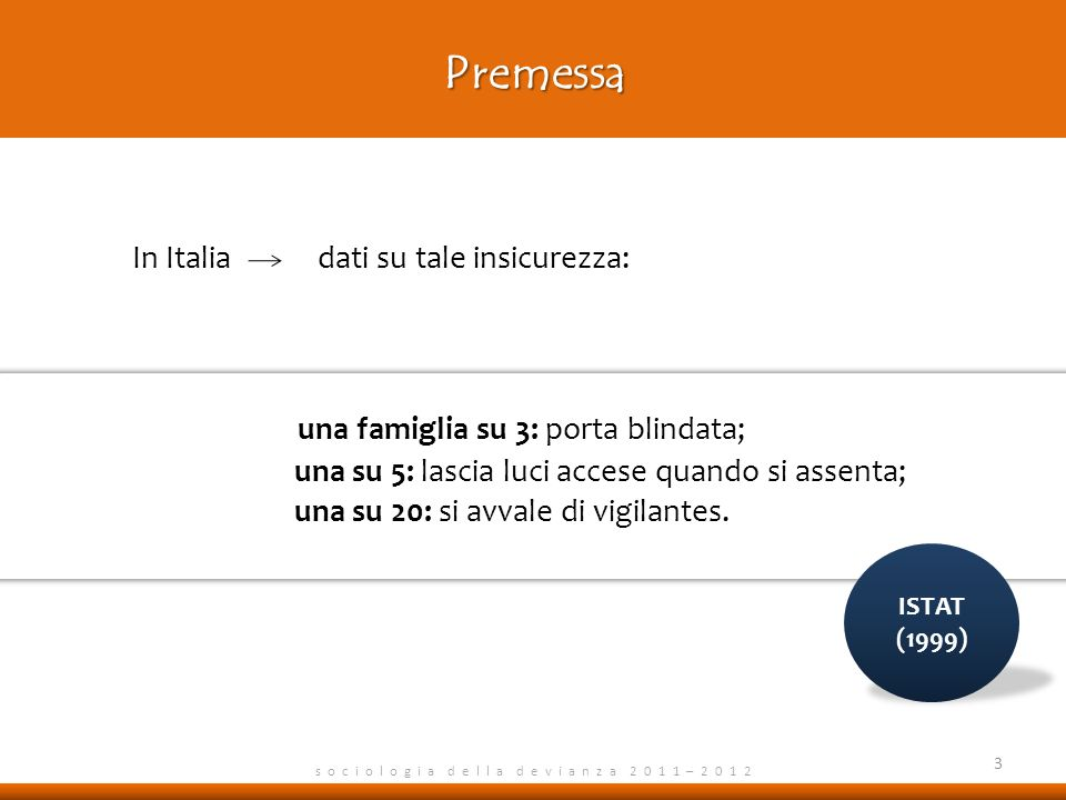 Premessa s o c i o l o g i a d e l l a d e v i a n z a 2 0 1 1 – 2 0 1 2 In Italia dati su tale insicurezza: una famiglia su 3: porta blindata; una su