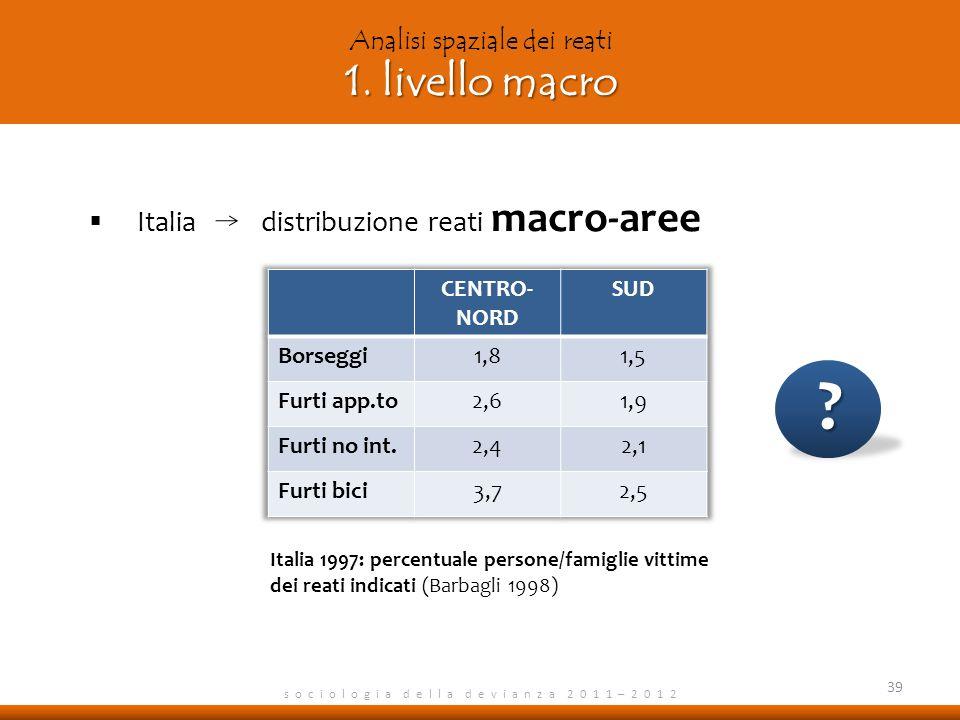 1. livello macro Analisi spaziale dei reati 1. livello macro s o c i o l o g i a d e l l a d e v i a n z a 2 0 1 1 – 2 0 1 2 Italia distribuzione reat