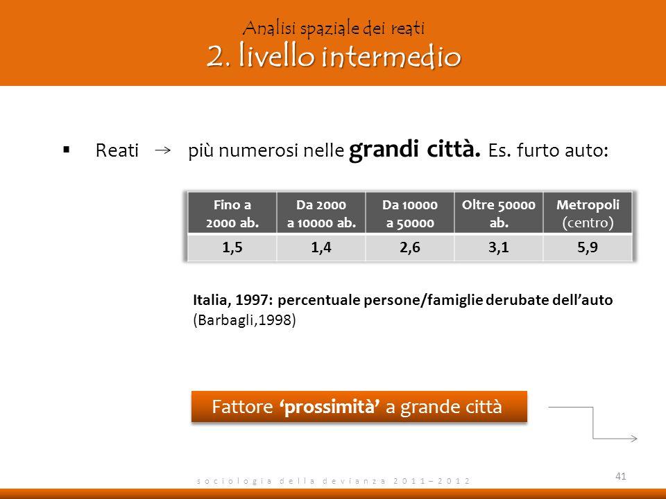 s o c i o l o g i a d e l l a d e v i a n z a 2 0 1 1 – 2 0 1 2 Reati più numerosi nelle grandi città.