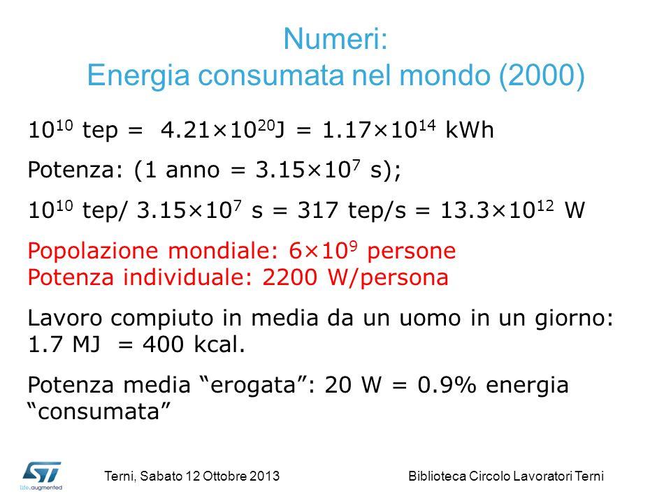 10 10 tep = 4.21×10 20 J = 1.17×10 14 kWh Potenza: (1 anno = 3.15×10 7 s); 10 10 tep/ 3.15×10 7 s = 317 tep/s = 13.3×10 12 W Popolazione mondiale: 6×10 9 persone Potenza individuale: 2200 W/persona Lavoro compiuto in media da un uomo in un giorno: 1.7 MJ = 400 kcal.