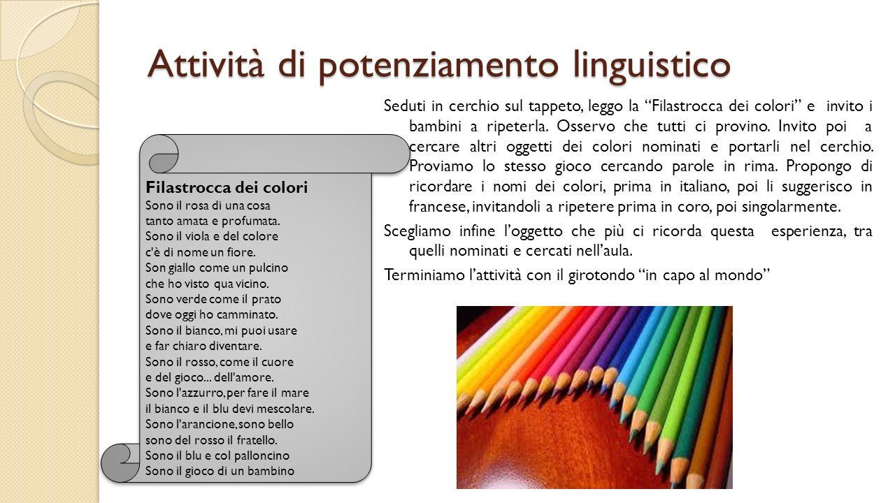Attività di potenziamento linguistico Seduti in cerchio sul tappeto, leggo la Filastrocca dei colori e invito i bambini a ripeterla. Osservo che tutti