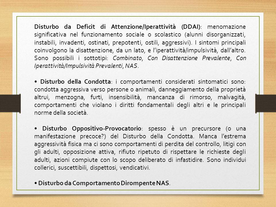 Disturbo da Deficit di Attenzione/Iperattività (DDAI): menomazione significativa nel funzionamento sociale o scolastico (alunni disorganizzati, instabili, invadenti, ostinati, prepotenti, ostili, aggressivi).