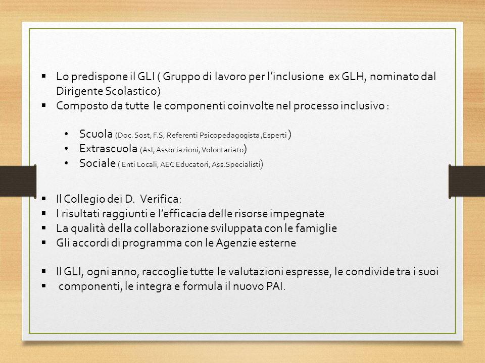Lo predispone il GLI ( Gruppo di lavoro per linclusione ex GLH, nominato dal Dirigente Scolastico) Composto da tutte le componenti coinvolte nel processo inclusivo : Scuola (Doc.