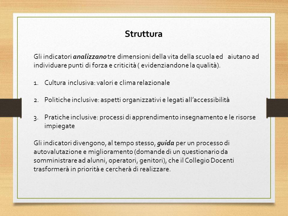 Gli indicatori analizzano tre dimensioni della vita della scuola ed aiutano ad individuare punti di forza e criticità ( evidenziandone la qualità).