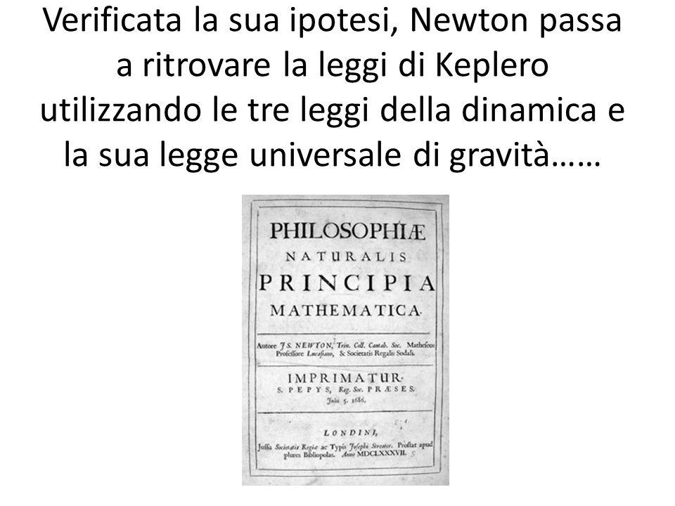 Verificata la sua ipotesi, Newton passa a ritrovare la leggi di Keplero utilizzando le tre leggi della dinamica e la sua legge universale di gravità……