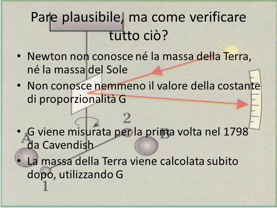 Pare plausibile, ma come verificare tutto ciò? Newton non conosce né la massa della Terra, né la massa del Sole Non conosce nemmeno il valore della co