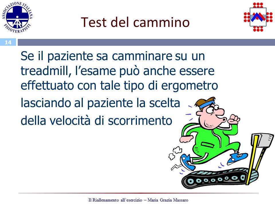 14 Il Riallenamento allesercizio – Maria Grazia Massaro Test del cammino Se il paziente sa camminare su un treadmill, lesame può anche essere effettua